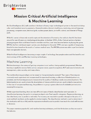 Mission Critical Artificial Intelligence & Machine Learning