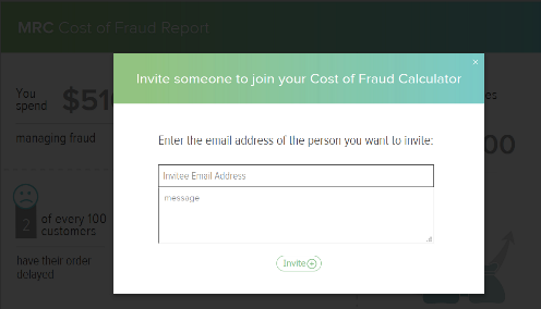 Cost of Fraud Calculator invite window