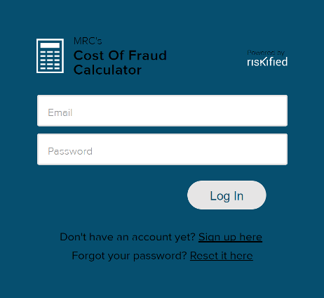 Cost of Fraud Calculator login screen
