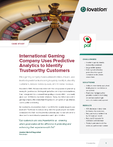International Gaming Company Uses Predictive Analytics to Identify Trustworthy Customers