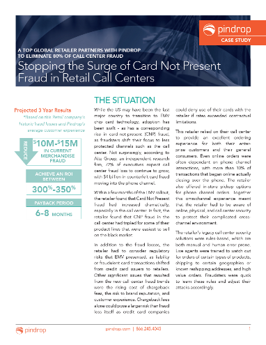 Stopping the Surge of Card Not Present Fraud in Retail Call Centers