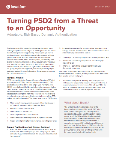 Turning PSD2 from a Threat to an Opportunity