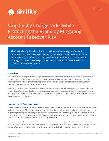 Stop Costly Chargebacks While Protecting the Brand by Mitigating Account Takeover Risk